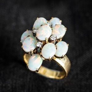 Vintage Estate Opal Diamond Cocktail Ring Size 7.5